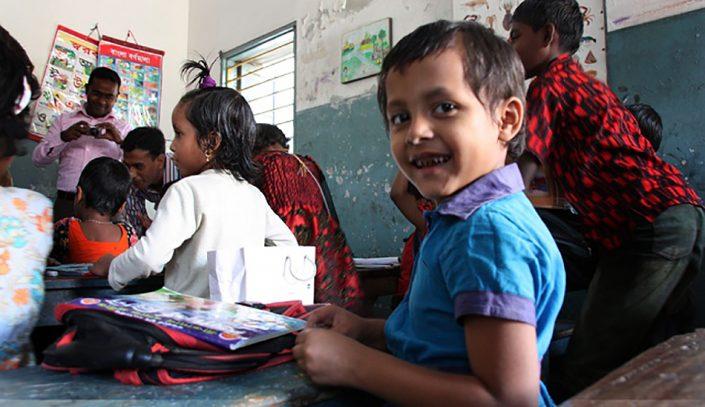 Slumskolen (Samaj Unnayan Sangstha) som ligger i tilknytning til et slumområde i Dhaka.